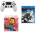 Manette PS4 Dualshock 4 (blanche, noire ou bleue) + Destiny 2 + Artbook
