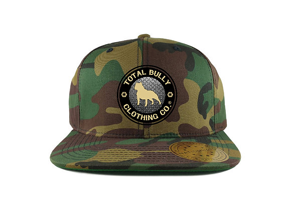 Total Bully Clothing Co. ARMY Camo w/Black & Beige Embroidered Logo Snap-Back