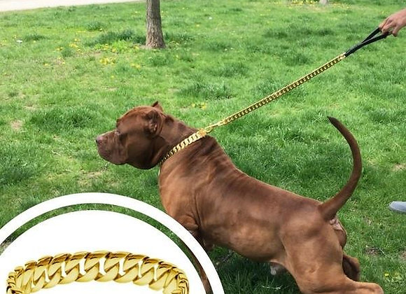 "THE GOLD ""CUBAN"" COLLAR & LEASH COMBO"
