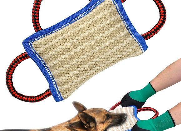 3 Handle Tug Jute Pillow Durable for Large Dogs