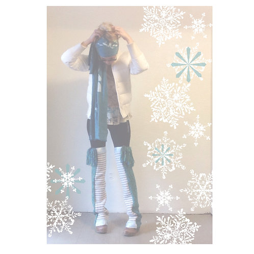 Teal Fringe Knee High Knit and Woven