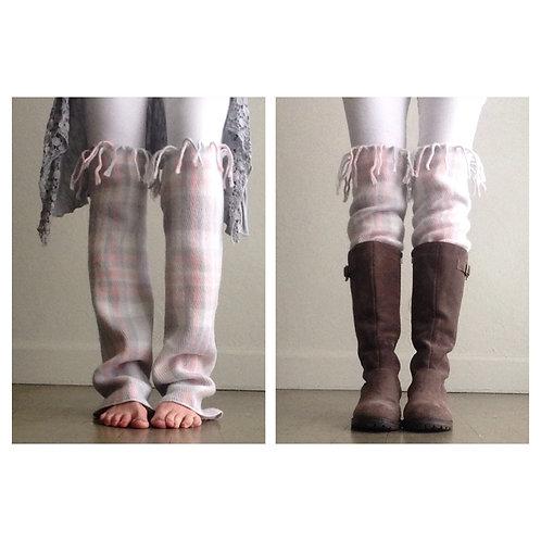 Soft Plaid Knee High Fringe Leg Warmers