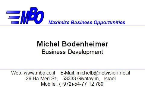 Michel Bodenheimer, Business Card