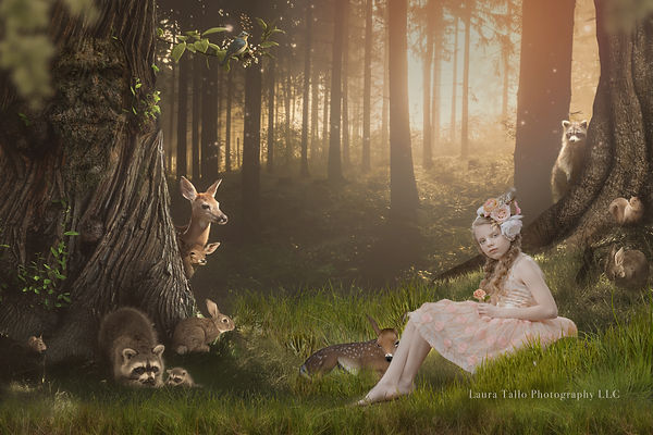 Little Girl in a Magical Forest with Little Forest Creatures