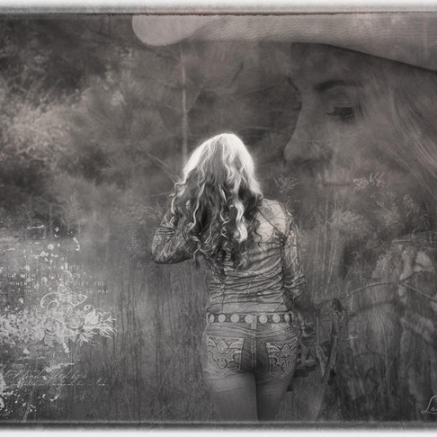Double exposure of young woman in the woods.