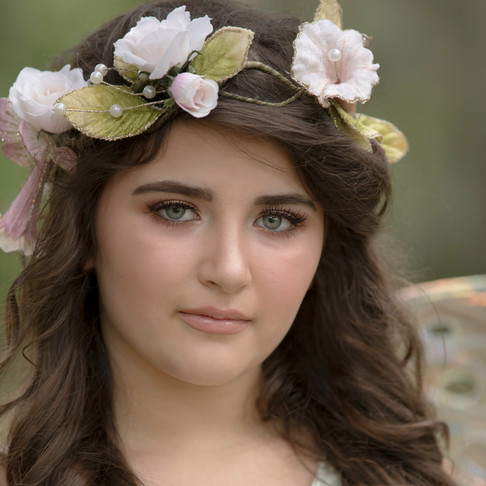 young woman with flowers in her hair