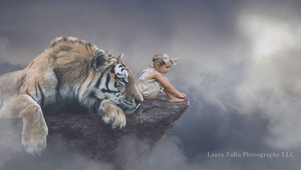 Little Girl on a Cliff with a Tiger