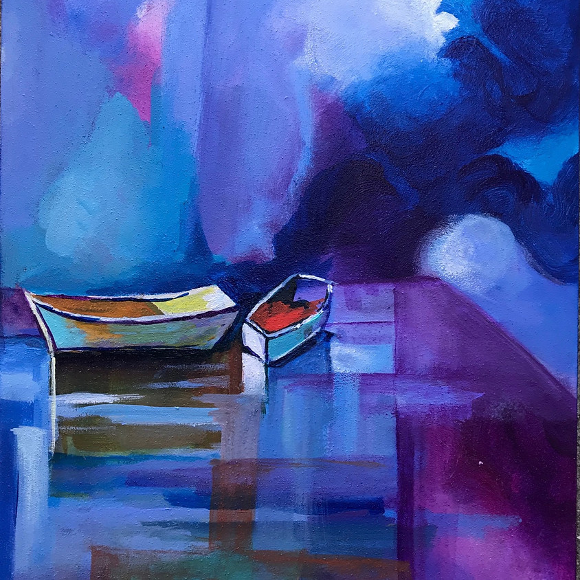 Boats on Lake Painting