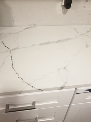 White marbled concrete countertops