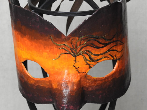 """Aura"" (orange) - Mask depicting an orange aura w/ a woman w/ flowing hair"