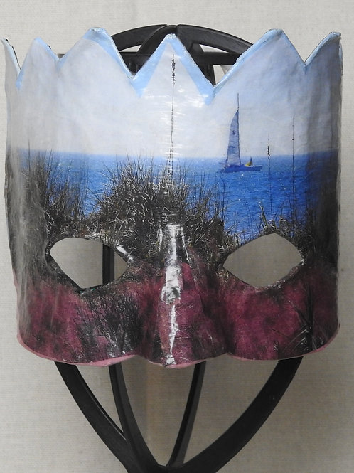 """Honeymoon Island Sailboat"" Mask featuring colorful grasses by the ocean"