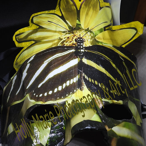 """Butterfly With Flower"" - Mask features a black&white butterfly on yellow flower"