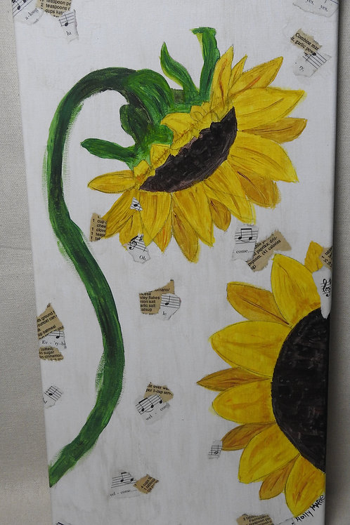 """A Conversation Between Friends"" canvas features sunflowers music & recipe bits"