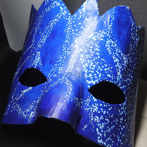 """Glow"" - Paper Mache' Mask depicting glowing blue lights."