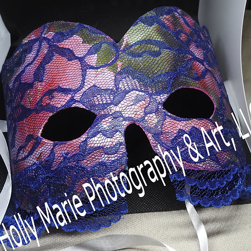 """Pink Flowers lace mask w/an additional straight lace overhang w/scalloped edges"