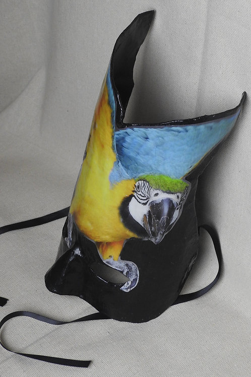 """""""Rio""""- Paper Mache' Masks featuring a macaw with wings up"""