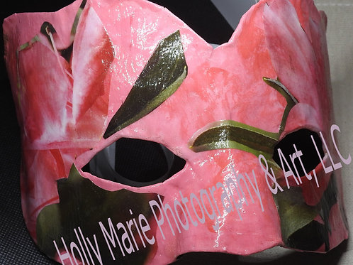 """""""Pink Flowers"""" - Paper Mache' Mask featuring flowers on acrylic background"""