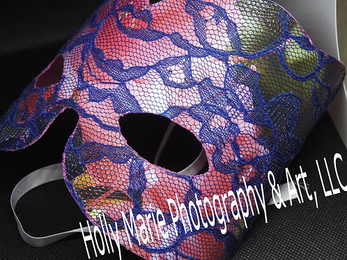 """""""Pink Flowers"""" - Lace mask featuring pink flowers photo with lace overlay"""