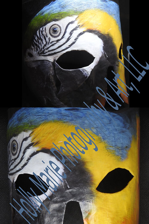 """Rio Hello"" - Mask featuring a colorful macaw"
