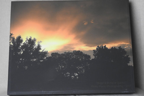 Angel & Dove in Sunset - photo canvas featuring a sunset with trees and clouds
