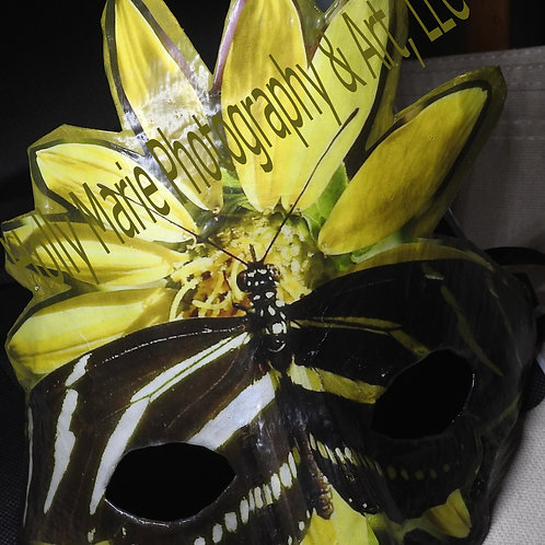 """Butterfly With Flower"" Mask featuring black&white butterfly w/yellow flower"