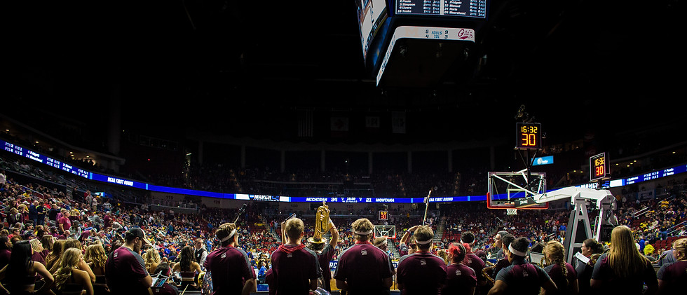 The University of Montana pep band wait to play to introduce the Griz to the arena before their game on March 21, 2019.