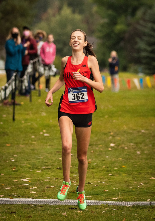 Hellgate High School Cross Country's Sage Brooks crosses the finish line at the Missoula Cross Country Invitational on Sept. 19, 2020 to win the Varsity Girls Race with a time of 17:59.32. Brooks recently committed to run at Syracuse University,  part of the Atlantic Coast Conference.