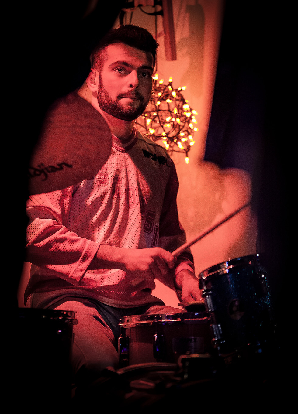 Fertile Crescent drummer Zach Meyer looks toward Curtis for a signal in the middle of the set.