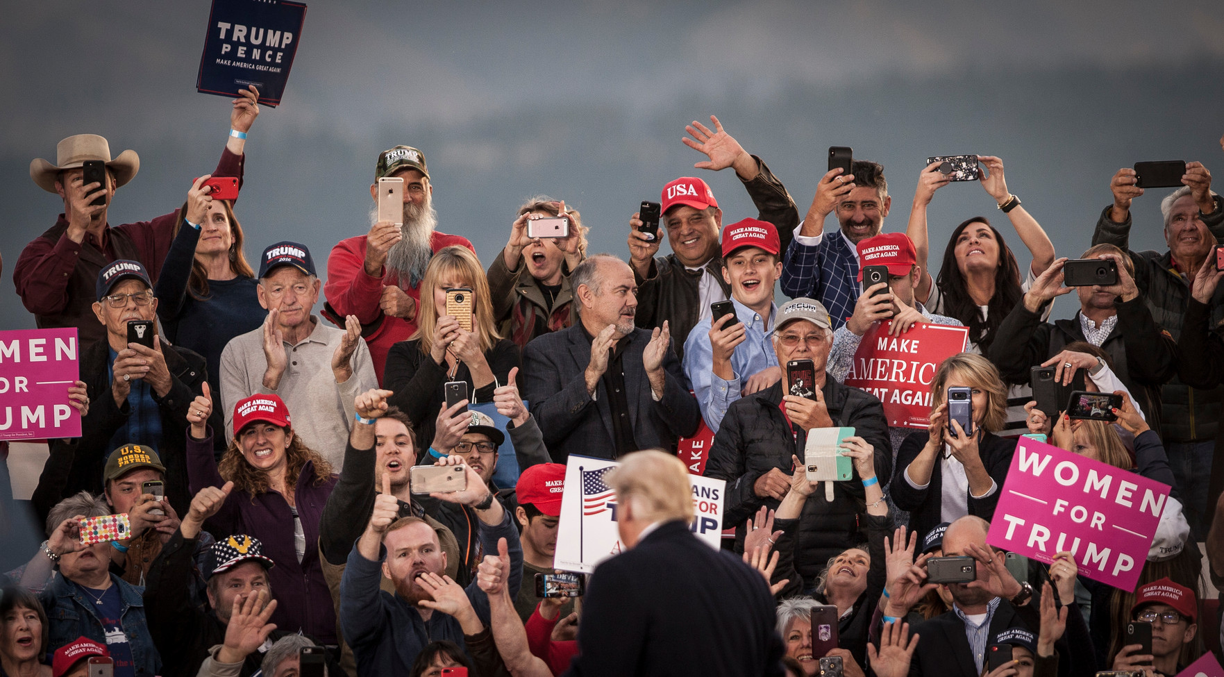 President Donald Trump greets the crowd at his Missoula Rally on Oct. 18, 2018 at the Minuteman Aviation Hangar. The rally was held at the hangar to facilitate simple exit and entry for the President, who didn't have to leave the tarmac.