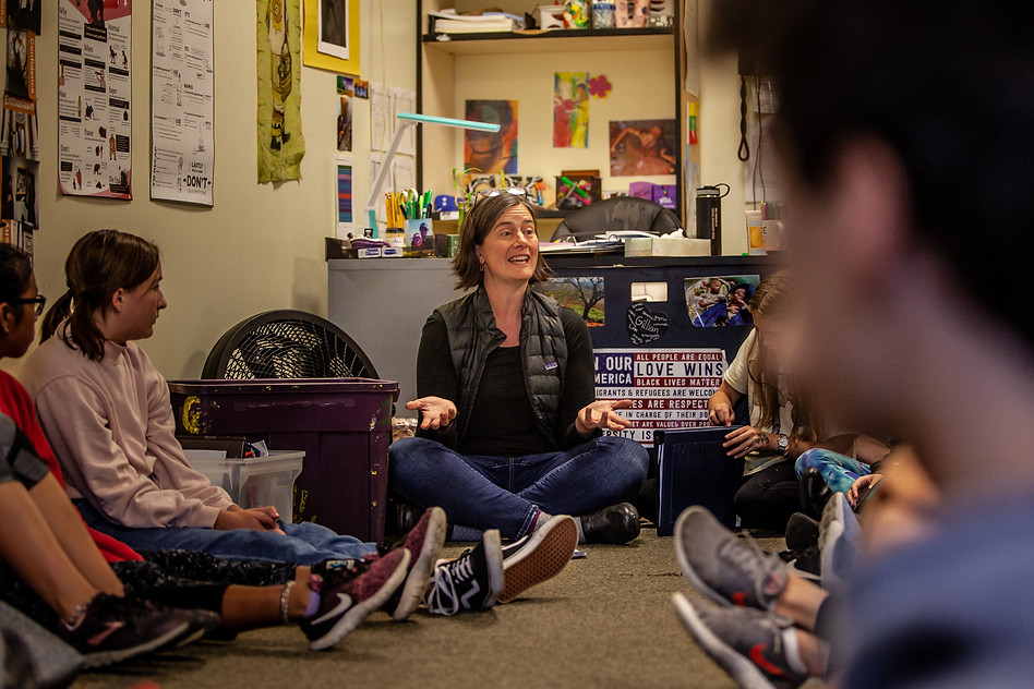 Bateman describes the first of the reflective writing prompts to middle schoolers at the Missoula International School during her visit on Wednesday, Sept. 18. Bateman encouraged them to use the writing to inspire their climate stories and speeches at the upcoming rally.