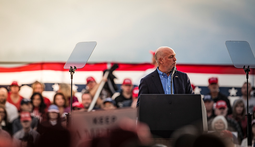 """Republican representative Greg Gianforte speaks to the rally. """"Can you imagine if Hillary Clinton was president,"""" said Gianforte, generating booing from the crowd. """"It is an honor and privilege to serve as your lone representative,"""" he continued, before introducing the president."""