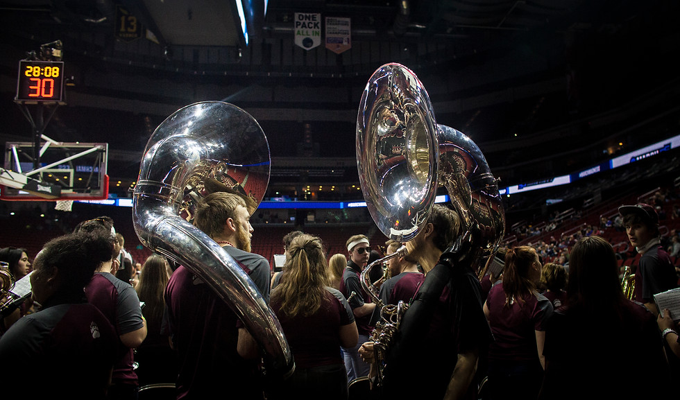 University of Montana Pep Band sousaphone players chat during a moment of downtime for the band at the pre-game open practice. The band was limited to bringing two sousaphones on the plane this year. Last year, they had four.