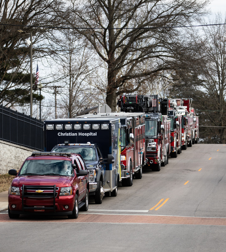 Trucks from several fire departments line up in preperation for the parade.
