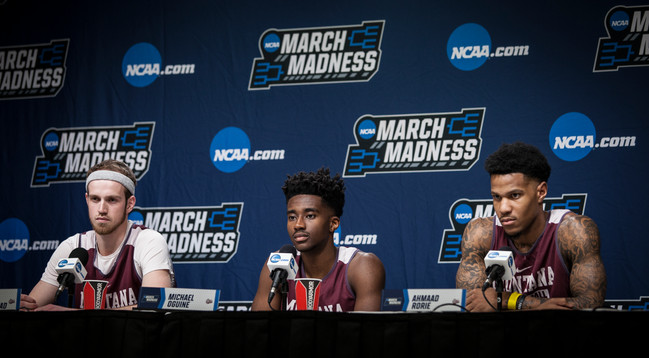 Seniors Bobby Moorehead, left, Micheal Oguine, and Ahmaad Rorie answer questions from the press at the conference a day before the game.