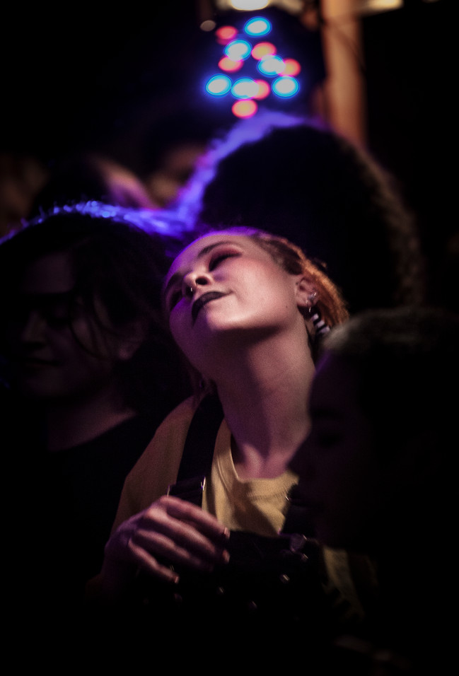 Jorunn Loken, an audience member, occupies the front row. Loken spent most of the concert dancing to the rock/soul music with friends.