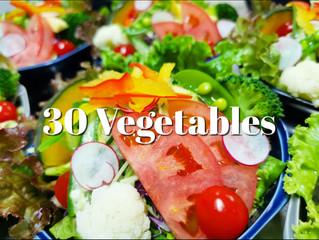 最近のサラダは約30種のお野菜を使用しています。