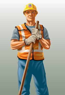 Track Worker for Union Pacific Mural