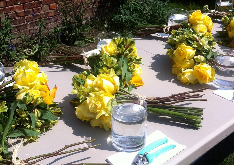 flower arranging party in the garden