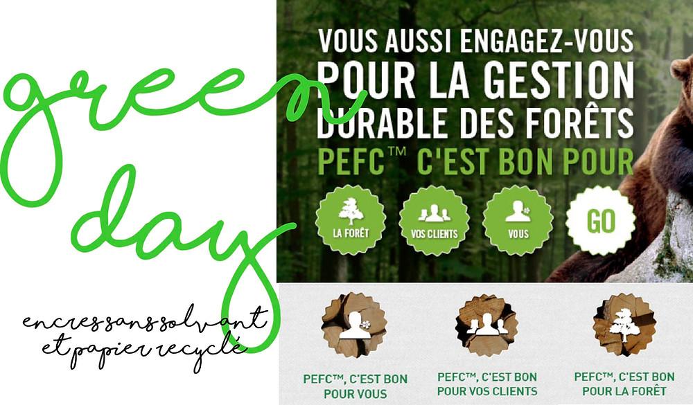 Green Day papier écolo recyclé encres sans solvant
