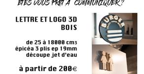 Lettres et logo bois