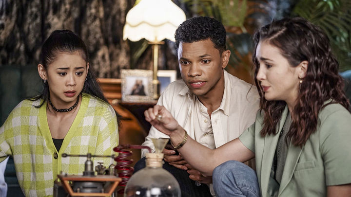 From left to right: Leah Lewis as George Fan; Tunji Kasim as Ned Nickerson; Maddison Jaizani as Bess Marvin in Nancy Drew.