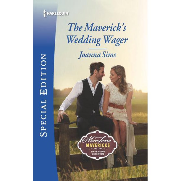 """Book cover to """"The Maverick's Wedding Wager"""" by Joanna Sims"""