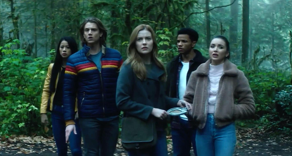 From left to right: Leah Lewis as George Fan; Alex Saxon as Ace; Kennedy McMann as Nancy Drew; Tunji Kasim as Ned Nickerson; Maddison Jaizani as Bess Marvin.