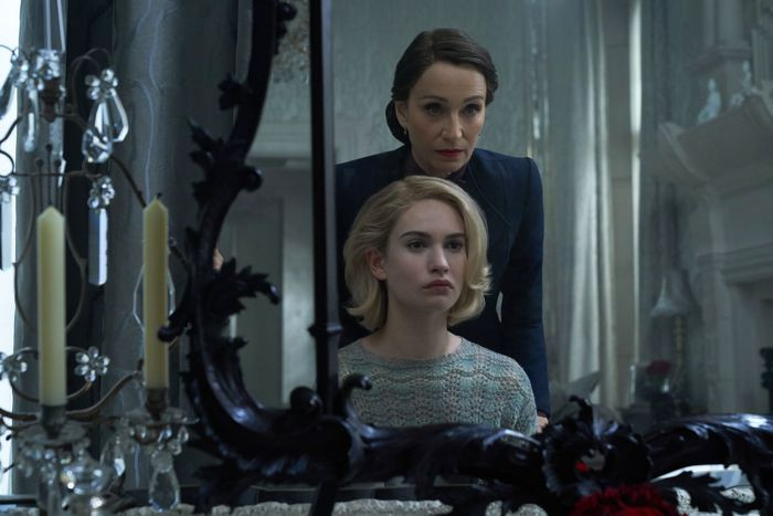 Kristin Scott Thomas and Lily James and Mrs. Danvers and the unnamed main character.