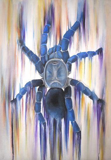Cobalt Blue Paper Painting