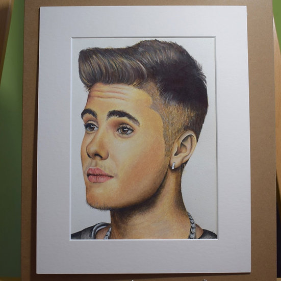 JUSTIN BEIBER PORTRAIT ORIGINAL WATERCOLOUR PAINTING
