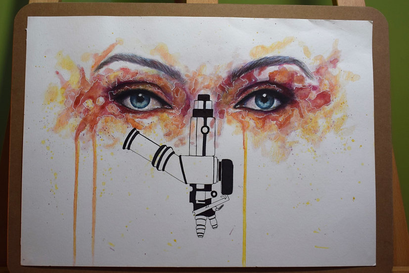 INTO THE SCOPE ORIGINAL WATERCOLOUR PAINTING