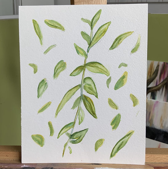 LEAF BOTANICAL DOODLES ORIGINAL WATERCOLOUR PAINTING