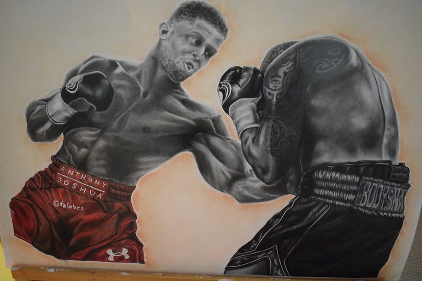 ANTHONY JOSHUA AND DILLIAN WHITE GRAPHITE DRAWING