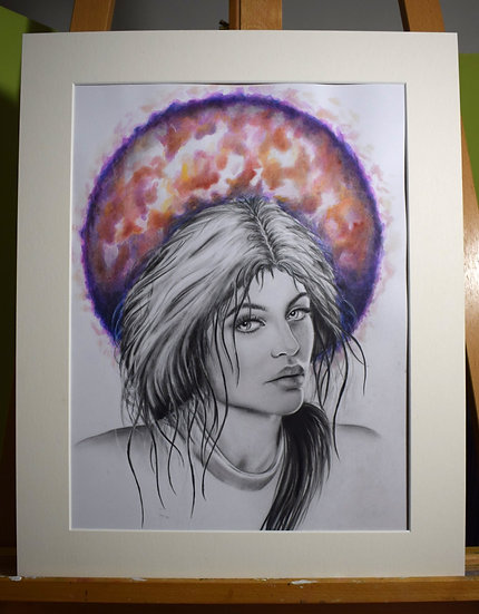 KYLIE JENNER ORIGINAL WATERCOLOUR PAINTING/GRAPHITE DRAWING